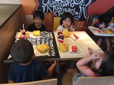 今日は祇園園の夕涼み会! 昼ごはん マクドナルド キャッチ画像